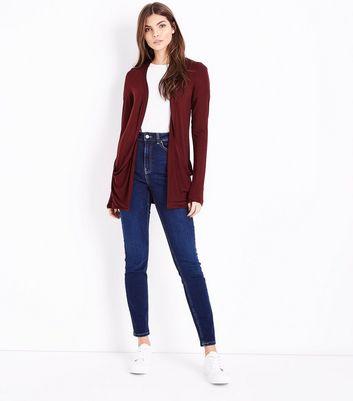 Tall Burgundy Double Pocket Cardigan New Look