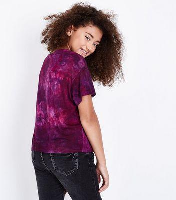 Teens Burgundy New York Harlem Slogan Tie Dye T-Shirt New Look