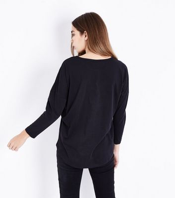 Black Floral Sequin Embroidered Long Sleeve T-Shirt New Look