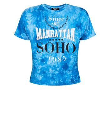 Teens Blue Manhattan Soho Slogan Tie Dye T-Shirt New Look