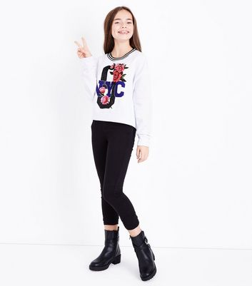 Teens White NYC Slogan Floral Glitter Sweatshirt New Look