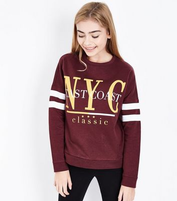 Teens Burgundy NYC Slogan Stripe Sleeve Sweatshirt New Look