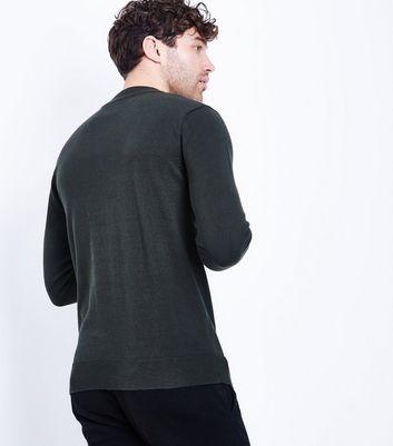 Dark Green Cotton Funnel Long Sleeve Neck Top New Look