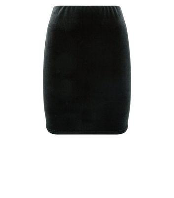 Black Velvet Tube Skirt New Look