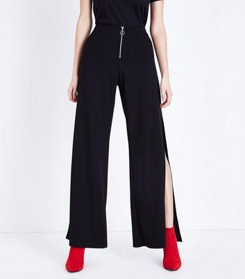 Black Zip Front Side Split Trousers New Look