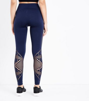 Navy Cut Out Seamless Sports Leggings New Look