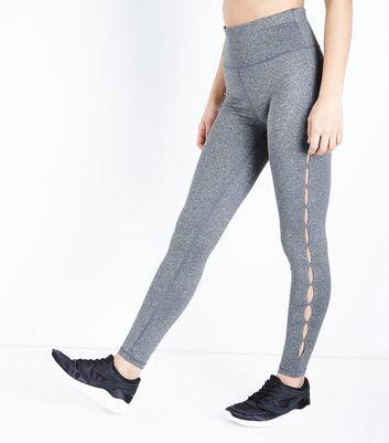 Grey Cut Out High Waist Sports Leggings New Look