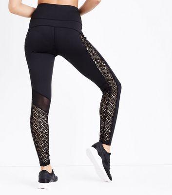 Black Crochet Trim Sports Leggings New Look