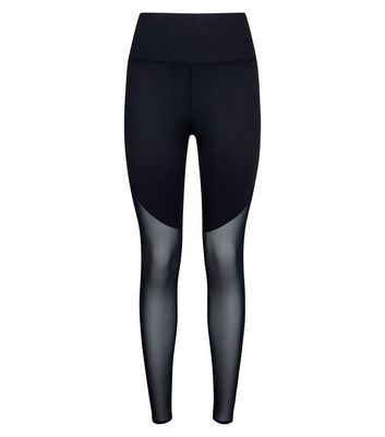 Black Mesh Panel Sports Leggings New Look