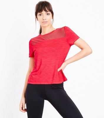 Red Mesh Panel Sports T-Shirt