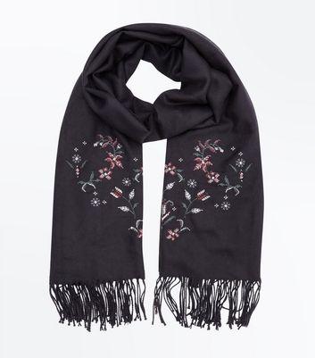 Black Floral Cross Stitch Scarf New Look