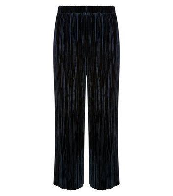 Teens Black Velvet Plisse Trousers New Look