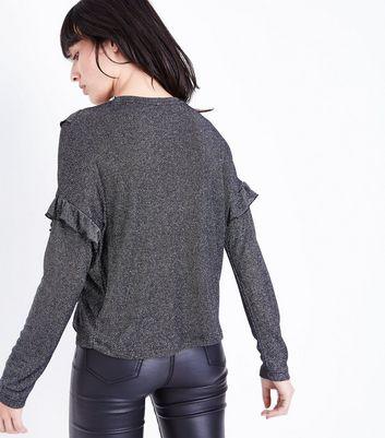 Black Glitter Frill Trim Fine Knit Top New Look