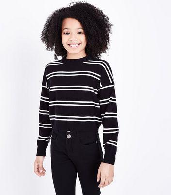 Teens Black Stripe Jumper New Look