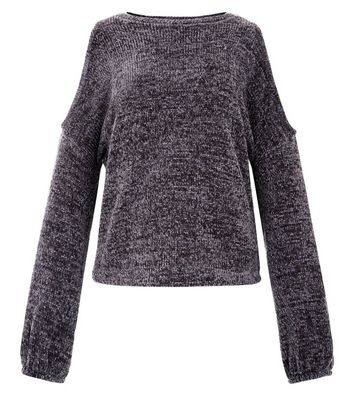 Teens Dark Grey Chenille Cold Shoulder Jumper New Look