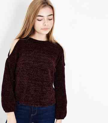 Girls – Weinroter Cold-Shoulder-Pullover aus Chenille