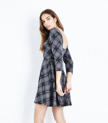Grey Check Scoop Back Skater Dress New Look