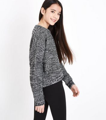 Teens Black Marl Boxy Knit Jumper New Look