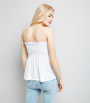 White Shirred Bandeau Top New Look