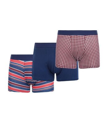 3 Pack Red Stripe and Check Print Trunks New Look