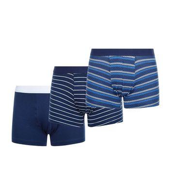 3 Pack Blue Stripe Print Trunks New Look
