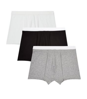 3 Pack Black and White Trunks New Look