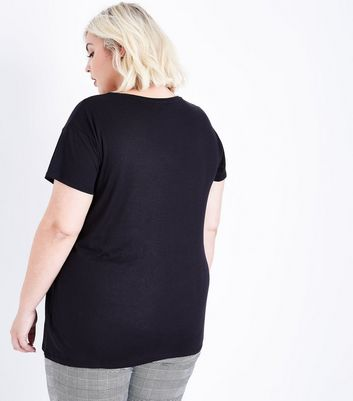 Curves Black Fang-Tastic Printed T-Shirt New Look