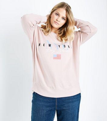 Curves Pink New York Print Sweatshirt New Look