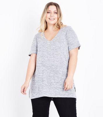 Curves Grey Lattice Back Fine Knit Top New Look