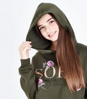 Teens Khaki Soho Floral Embroidered Hoodie New Look