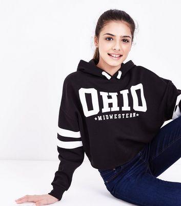 Teens Black Ohio Slogan Front Puff Print Hoodie New Look