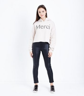 Teens Shell Pink Merci Embellished Slogan Front Hoodie New Look
