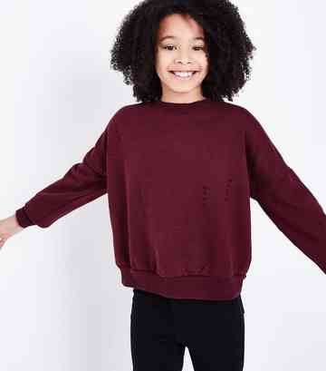 Girls Burgundy Ripped Sweatshirt