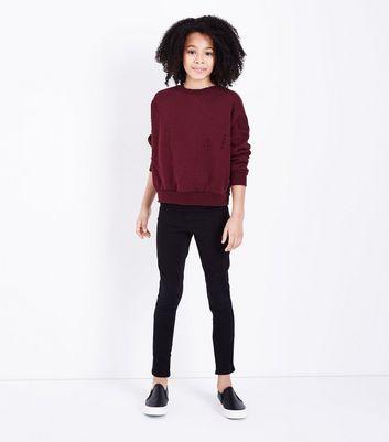 Teens Burgundy Ripped Sweatshirt New Look