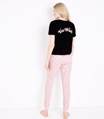Black You Wish Slogan Heart Glitter Print Jersey Pyjama Set New Look
