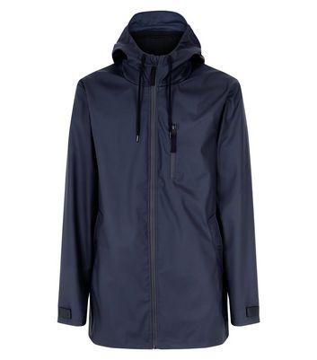 Navy Fleece Lined Rain Coat New Look