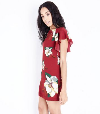 Cameo Rose Red Floral Print Frill Shoulder Dress New Look