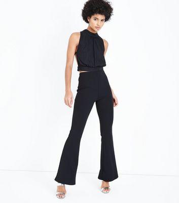 Cameo Rose Black Plisse Keyhole Crop Top New Look