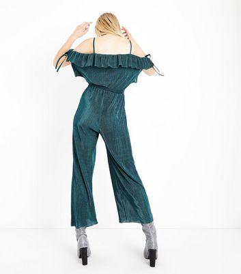 Cameo Rose Green Velvet Plisse Jumpsuit New Look