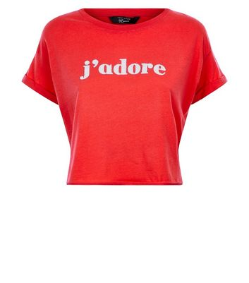 Teens Red J'adore Print Crop T-Shirt New Look