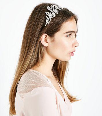Silver Crystal Embellished Leaf Headband New Look