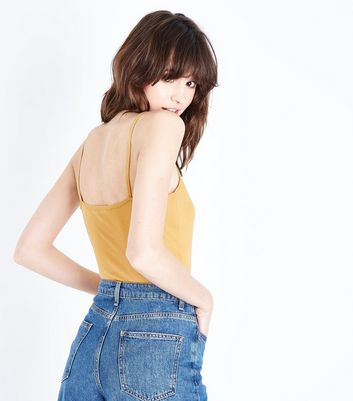 Mustard Yellow Shoestring Strap Cami New Look
