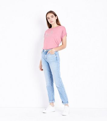 Pink Metallic Floral Embroidered T-Shirt New Look