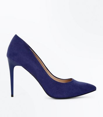 Navy Suedette Stiletto Heel Pointed Courts New Look