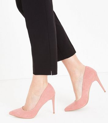 Pink Suedette Stiletto Heel Pointed Courts New Look