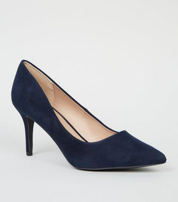 Navy Suedette Pointed Court Shoes