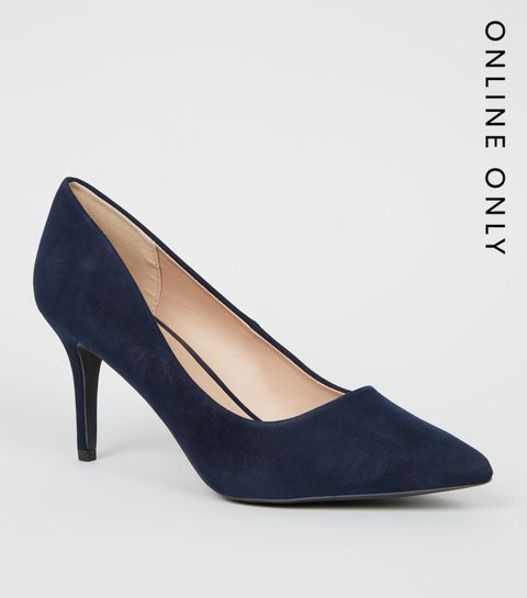e7e33a2b652 ... Navy Suedette Pointed Court Shoes ...