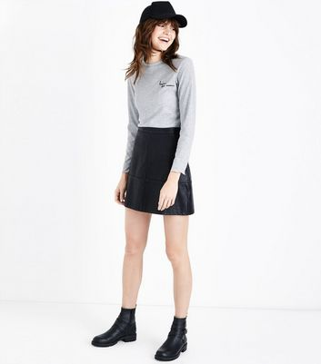 Grey Bonjour Mon Amour Embroidered Slogan T-Shirt New Look