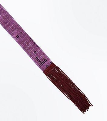 Purple Sequin Embellished Neck Tie New Look