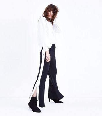 Cameo Rose White Popper Side Trousers New Look